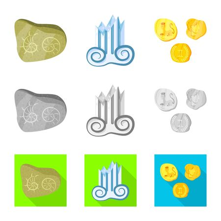 Isolated object of story and items. Set of story and attributes stock vector illustration. Иллюстрация