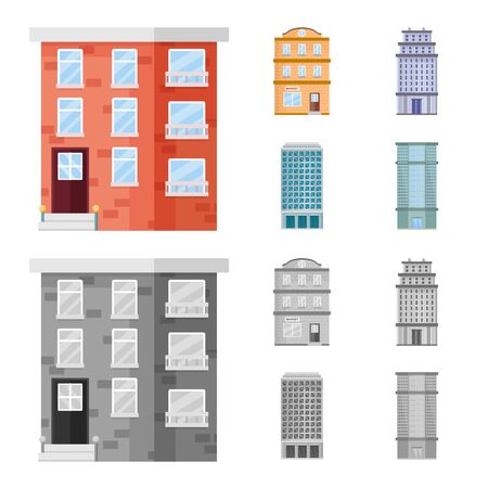 Isolated object of municipal and center icon. Set of municipal and estate vector icon for stock.