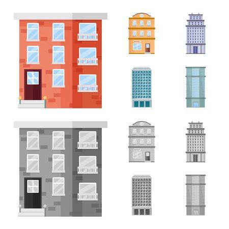 Objet isolé de l'icône municipale et centrale. Ensemble d'icônes vectorielles municipales et immobilières pour le stock.