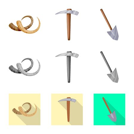 Vector design of story and items icon. Set of story and attributes vector icon for stock. 일러스트