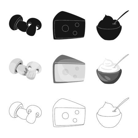 Isolated object of taste and product sign. Collection of taste and cooking stock symbol for web.