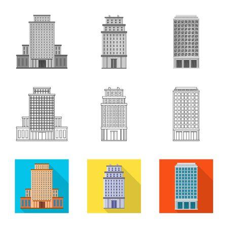 Isoliertes Objekt des Gemeinde- und Mittelzeichens. Sammlung von kommunalen und Immobilienvektorsymbolen für Aktien. Vektorgrafik
