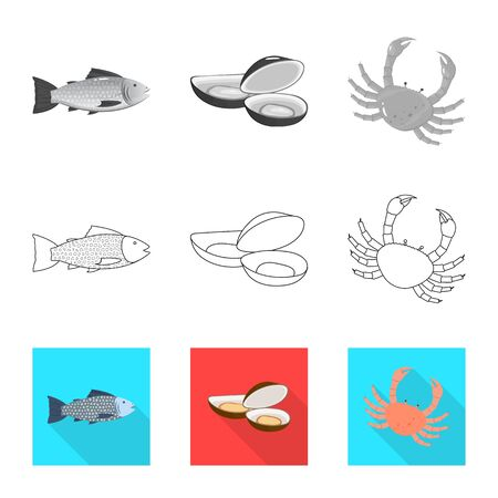 Vector design of fresh and restaurant symbol. Collection of fresh and marine stock vector illustration.