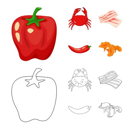 Vector illustration of taste and product icon. Set of taste and cooking vector icon for stock. Stock Illustratie