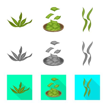 Vector design of protein and sea sign. Collection of protein and natural stock vector illustration.