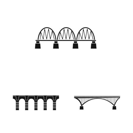 Vector illustration of construct and side symbol. Collection of construct and bridge stock symbol for web. Standard-Bild - 128767521