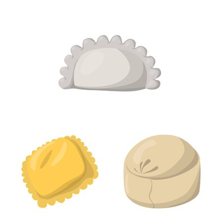 Vector illustration of dumplings and food. Collection of dumplings and stuffed stock vector illustration. Illustration