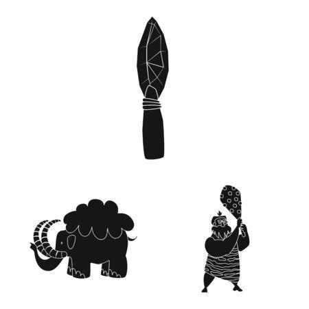 Illustrazione vettoriale di sapiens e segno di sviluppo. Set di sapiens e icona di vettore di età per stock. Vettoriali
