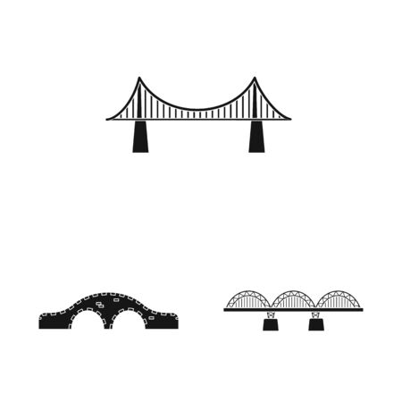 Isolated object of construct and side icon. Set of construct and bridge stock vector illustration. Stock Illustratie