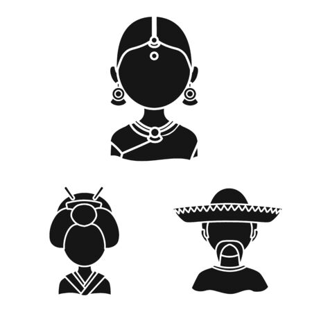 Isolated object of person and culture. Collection of person and race stock symbol for web. Illusztráció