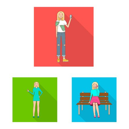 Vector illustration of woman and body sign. Set of woman and style stock vector illustration.