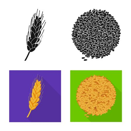 Isolated object of agriculture and farming logo. Collection of agriculture and plant stock symbol for web.