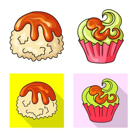Isolated object of confectionery and culinary symbol. Collection of confectionery and product stock symbol for web. Ilustração