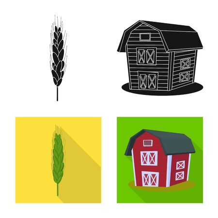 Vector illustration of agriculture and farming sign. Set of agriculture and plant stock vector illustration. 일러스트