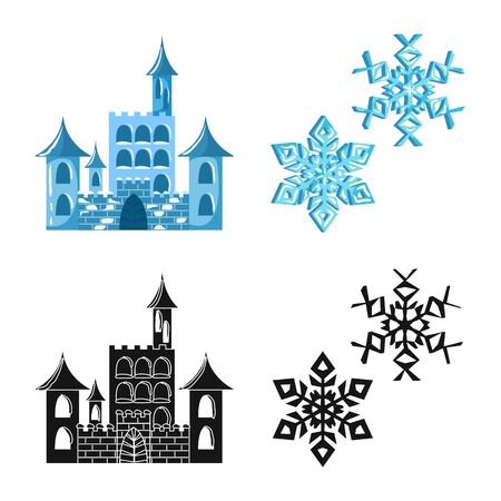 Vector illustration of texture and frozen symbol. Set of texture and transparent vector icon for stock.