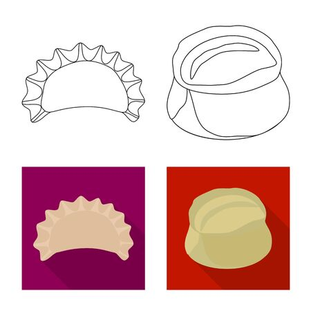 Isolated object of products and cooking logo. Collection of products and appetizer vector icon for stock.
