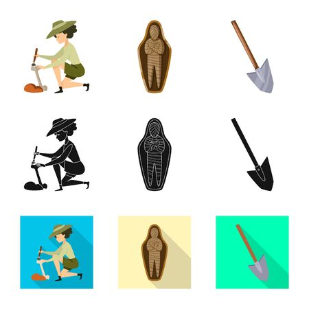 Isolated object of story and items icon. Set of story and attributes vector icon for stock. Illusztráció