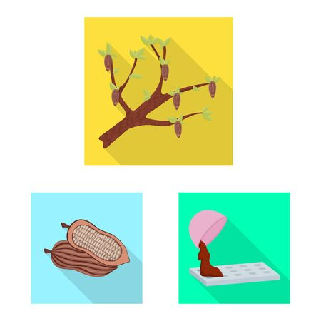 Vector illustration of treat and product symbol. Set of treat and yummy stock symbol for web. Standard-Bild - 128848867