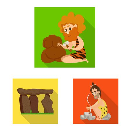 Vector design of evolution and prehistory sign. Set of evolution and development vector icon for stock.