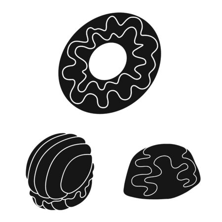 Vector illustration of sweetness and product icon. Set of sweetness and sweet stock vector illustration.
