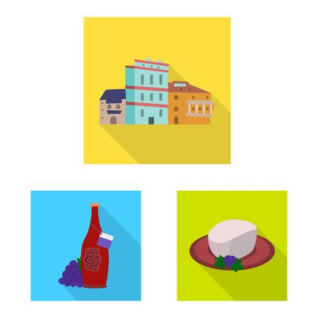 Vector illustration of culture and sightseeing symbol. Set of culture and originality stock vector illustration.