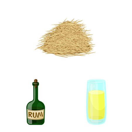 Vector illustration of sugarcane and cane sign. Collection of sugarcane and field stock vector illustration.