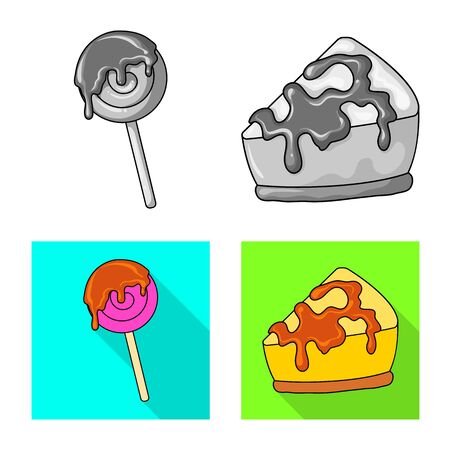 Vector design of confectionery and culinary logo. Set of confectionery and product stock symbol for web.