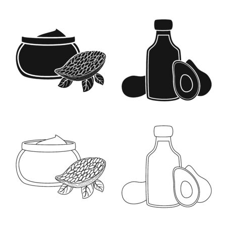 Vector design of healthy and vegetable symbol. Set of healthy and agriculture vector icon for stock. Stock Illustratie