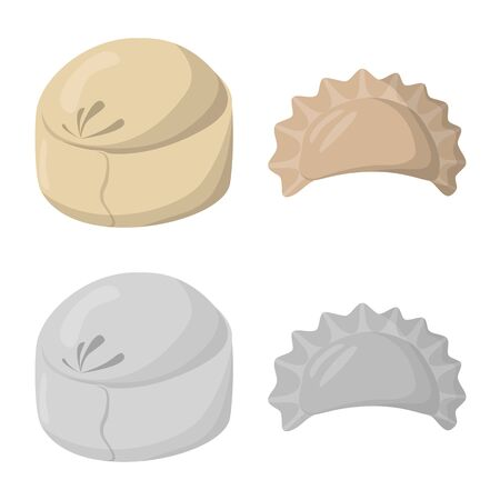 Vector illustration of products and cooking icon. Set of products and appetizer stock vector illustration. Stock Illustratie