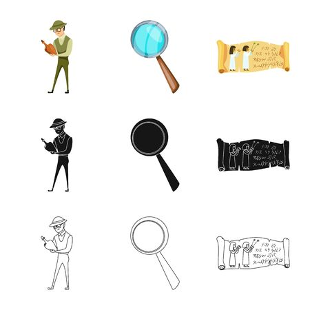 Isolated object of story and items icon. Set of story and attributes stock symbol for web. Illustration