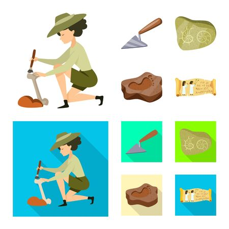 Vector illustration of story and items. Set of story and attributes stock vector illustration.
