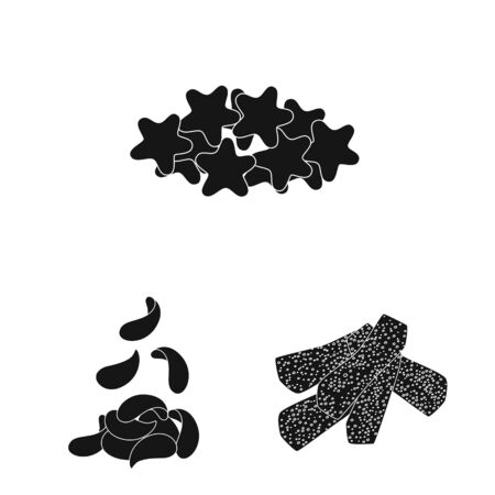 Vector design of party and cooking symbol. Collection of party and crunchy vector icon for stock. Standard-Bild - 129039158