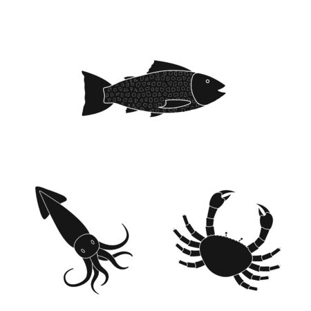 Isolated object of market and marine icon. Set of market and sea stock vector illustration.  イラスト・ベクター素材