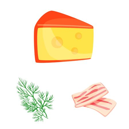 Isolated object of food and flavors icon. Set of food and ingredient stock symbol for web.