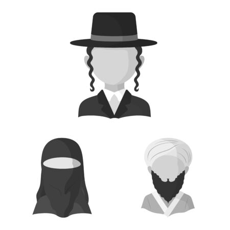 Vector illustration of person and culture. Set of person and race stock vector illustration. Иллюстрация