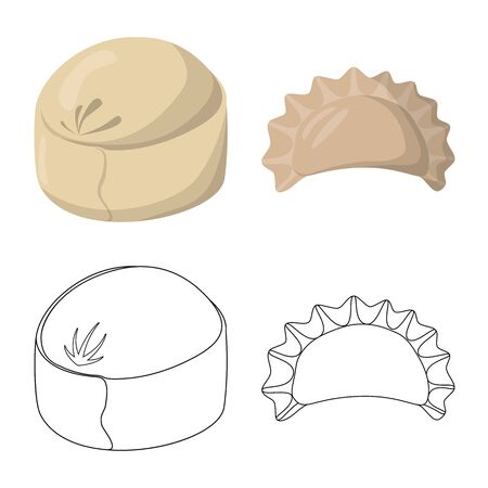 Vector illustration of products and cooking sign. Collection of products and appetizer stock symbol for web. Illustration