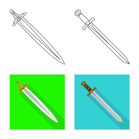 Vector design of game and armor sign. Collection of game and blade vector icon for stock. Stock Vector - 129040375