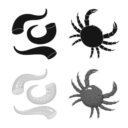 Vector illustration of fresh and restaurant sign. Collection of fresh and marine vector icon for stock.  イラスト・ベクター素材