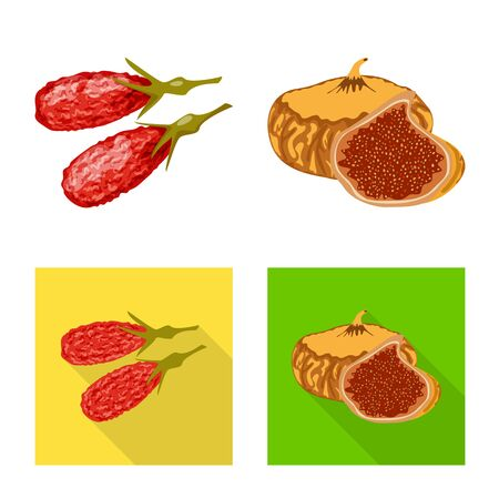 Vector design of food and raw logo. Set of food and nature vector icon for stock. Illustration