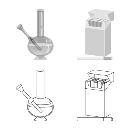 Isolated object of refuse and stop icon. Set of refuse and habit stock vector illustration. Stock Illustratie