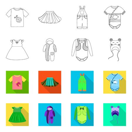 Vector illustration of fashion and garment icon. Set of fashion and cotton stock symbol for web. Иллюстрация