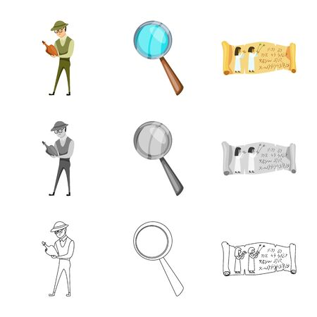 Isolated object of story and items sign. Set of story and attributes vector icon for stock. Standard-Bild - 129039459