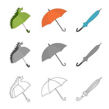 Vector design of protection and closed icon. Collection of protection and rainy stock vector illustration.