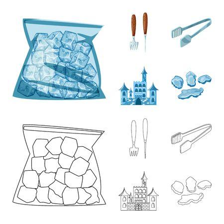 Vector illustration of texture and frozen sign. Set of texture and transparent vector icon for stock. Stock Illustratie