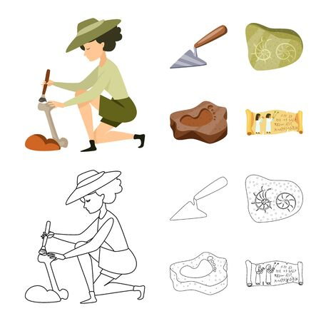 Vector illustration of story and items sign. Collection of story and attributes stock symbol for web. Standard-Bild - 129039515