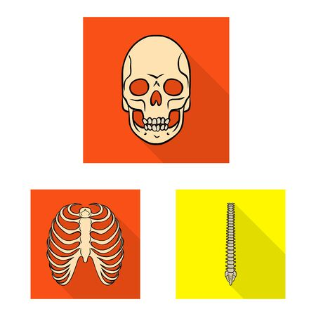 Isolated object of bone and skeleton symbol. Collection of bone and human vector icon for stock.