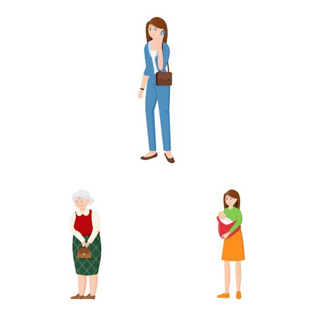 Vector illustration of family and people symbol. Collection of family and avatar stock symbol for web. Ilustrace
