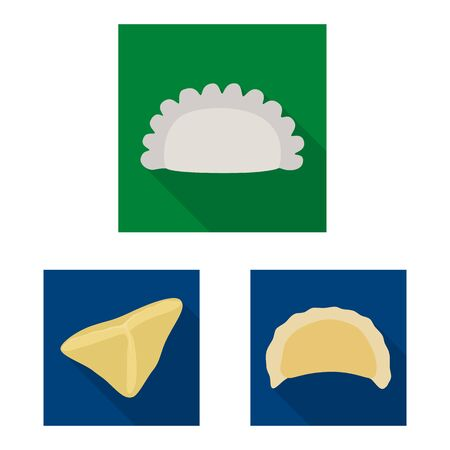 Isolated object of products and cooking. Collection of products and appetizer vector icon for stock.  イラスト・ベクター素材
