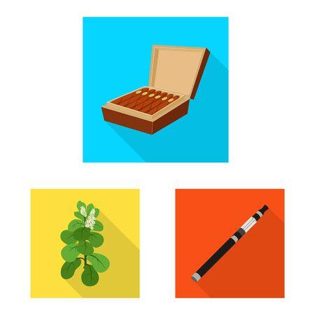 Vector illustration of smoke and statistics symbol. Collection of smoke and stop vector icon for stock.