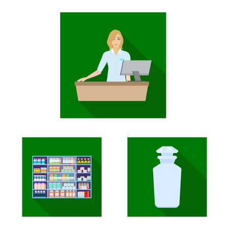 Isolated object of hospital and help icon. Set of hospital and healthcare vector icon for stock.